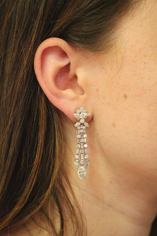 Harry Winston Diamond Platinum Ear Pendants circa 1960s 9