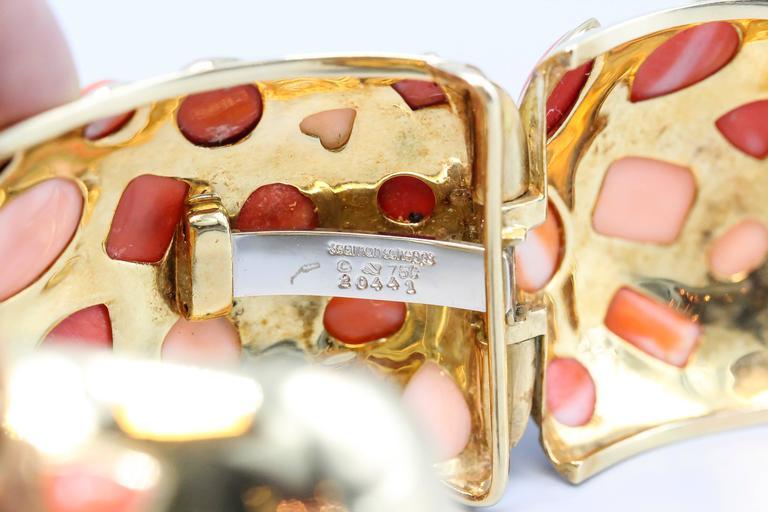 Women's Seaman Schepps 1950s Coral Gold Cuff Bracelet For Sale