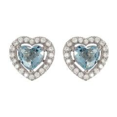 1.23 Carat Heart Shape Aquamarine, Diamond 18 Karat white gold Stud Earrings