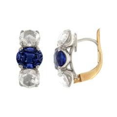 18 Karat Gold Oval Sapphire and Rose Cut Diamond, Three Stones Earrings