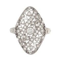Art Deco 18 Karat White Gold Diamond Filigree Ring