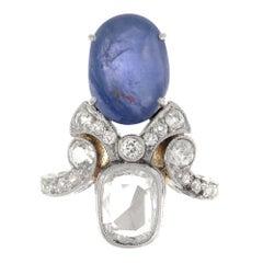 Antique Art Deco 18 Karat Yellow Gold and Platinum Sapphire and Diamond Ring