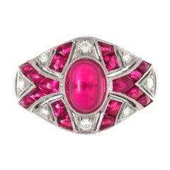 18 Karat White Gold Antique Art Deco Ruby and Diamond Ring