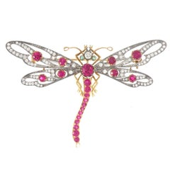 18 Karat Gold and Silver Victorian Inspired Diamonds Ruby Dragonfly Brooch