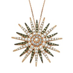 Bee Goddess Rose Gold White and Brown Diamond Jardin Star Necklace