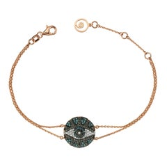 Bee Goddess Rose Gold Black and Blue Diamond Eye Light Bracelet