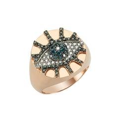 Bee Goddess Rose Gold Black and Blue Diamond Eye Light Pinky Signet