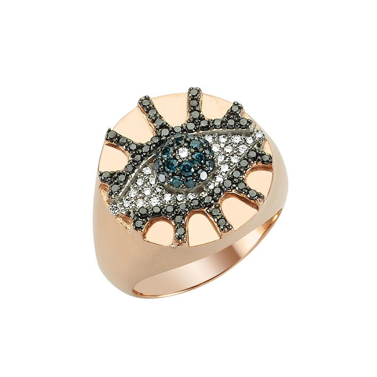 Rose-gold and black- and blue-diamond Eye Light pinky signet ring