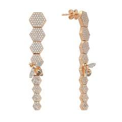 Bee Goddess Rose Gold White Diamond Honeycomb Earrings