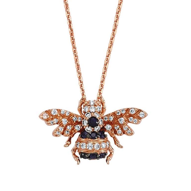 Rose-gold, white-diamond and sapphire Bee necklace