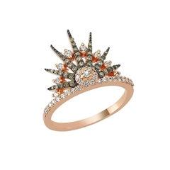 Bee Goddess Rose Gold White and Brown Diamond Jardin Star Ring
