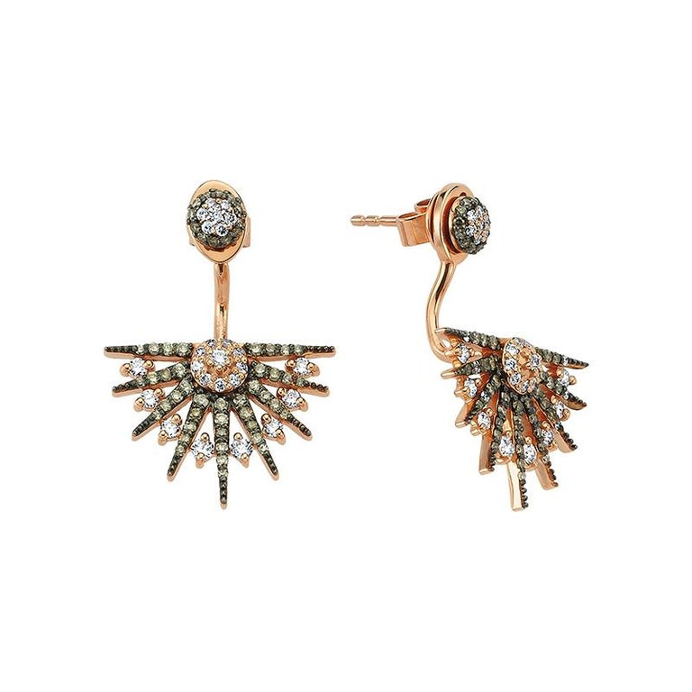 Rose-gold and white- and brown-diamond Jardin Star earrings