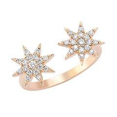 Bee Goddess White Gold White Diamond Venus Star Ring