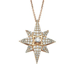 Bee Goddess Rose Gold White Diamond Venus Star Necklace