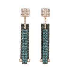 Bee Goddess Rose Gold Black and Blue Diamond Mondrian Earrings