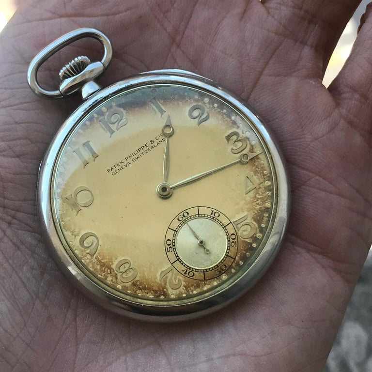 Patek Philippe 1933 Gents 18 Karat Gold Pocket Watch, Signed with Box and Papers For Sale 3