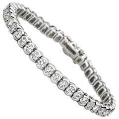 6 Carat Total Weight Platinum Diamond Tennis Bracelet Bezel Set