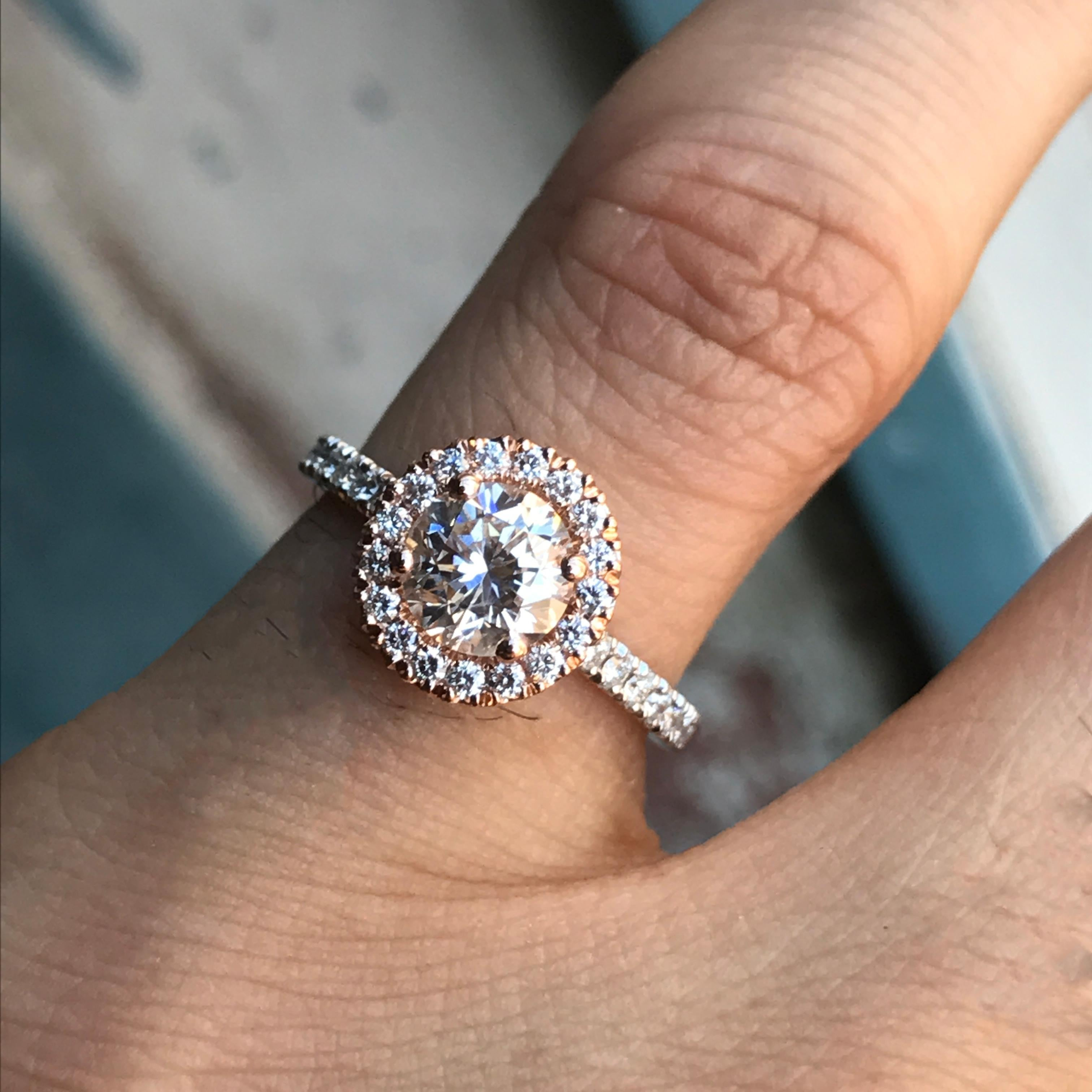 1.25 Carat Approximate Round Halo Diamond Rose and White Gold Ring
