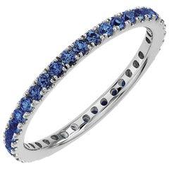 Round Blue Sapphire Eternity Band 14 Karat White Gold