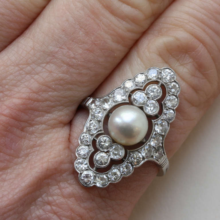 Pearl and Diamond Navette Shaped Edwardian Ring 5