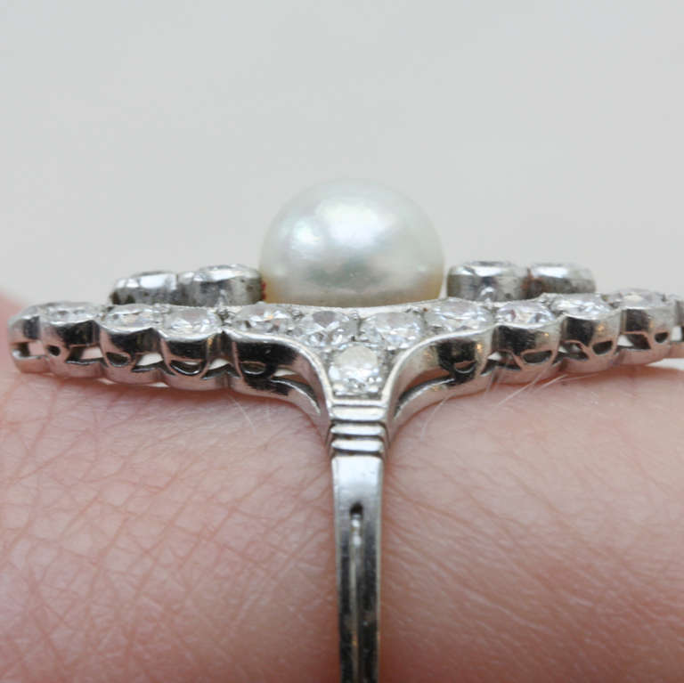 Pearl and Diamond Navette Shaped Edwardian Ring 6