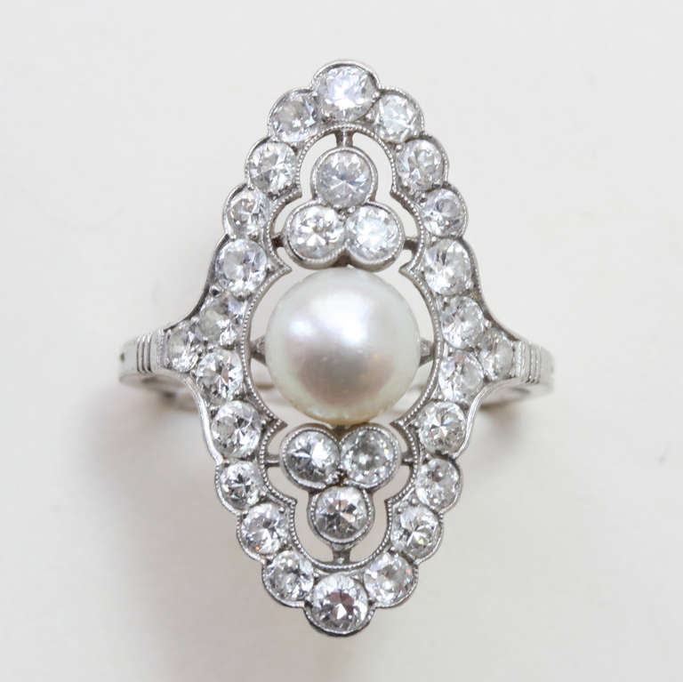 Pearl and Diamond Navette Shaped Edwardian Ring 2