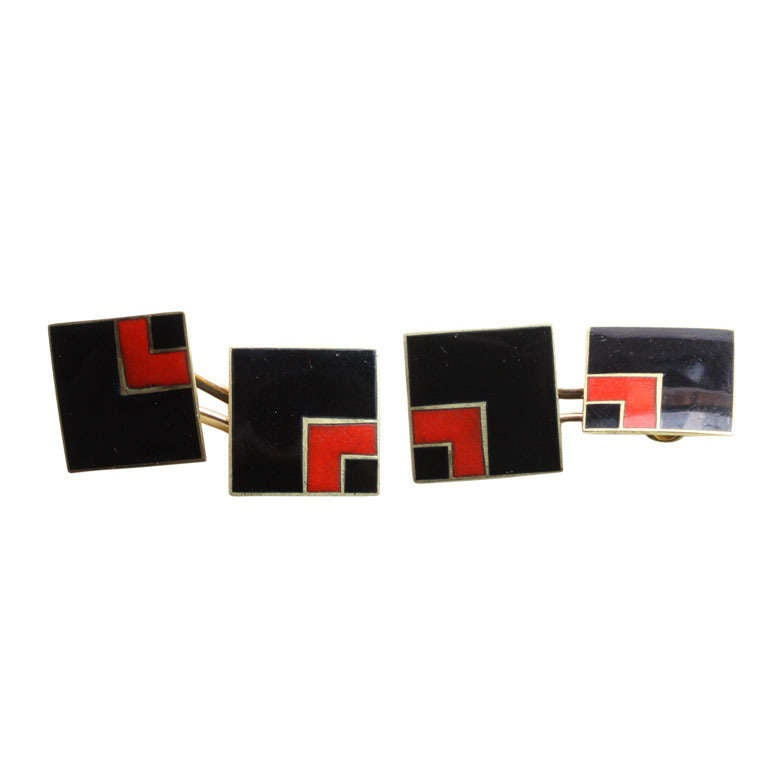 Art Deco Black and Red Enamel and Gold Cufflinks
