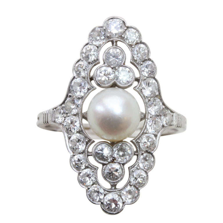 Pearl and Diamond Navette Shaped Edwardian Ring 1