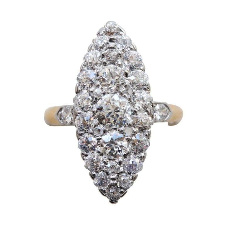 Diamond Marquise Shaped Edwardian Ring 1