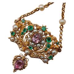 Georgian Topaz Pearl Emerald Gold Filigree Pendant