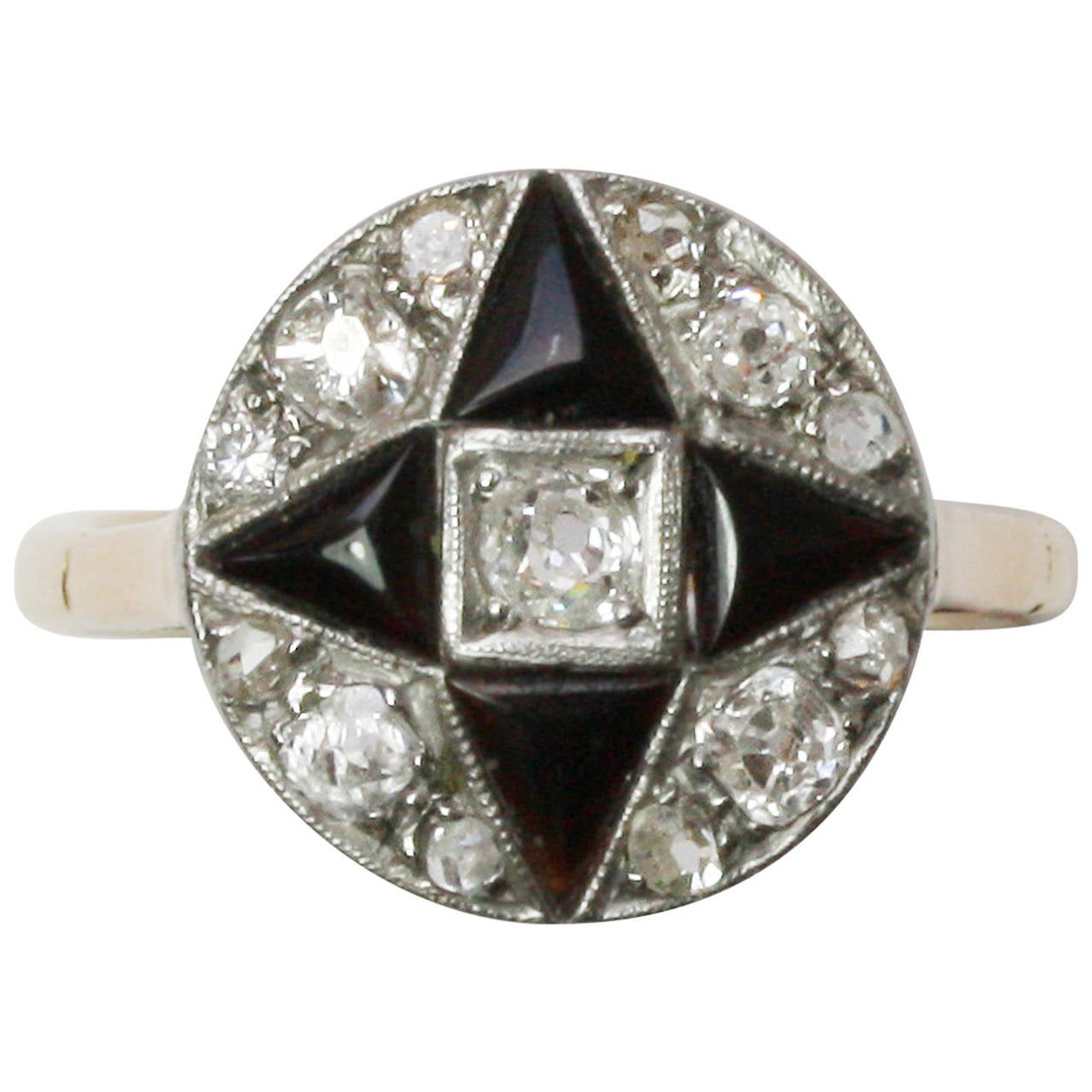 Art Deco Onyx Diamond Gold Engagement Ring At 1stdibs