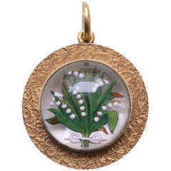 Lily-of-the-Valley Reverse Crystal Intaglio Mother of Pearl Gold Locket