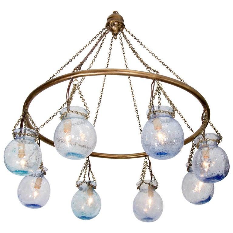 Egyptian Handblown Small Blue Glass Globe Chandelier At
