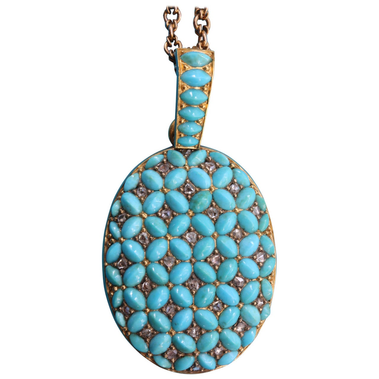 Oval Turquoise Diamond Gold Locket