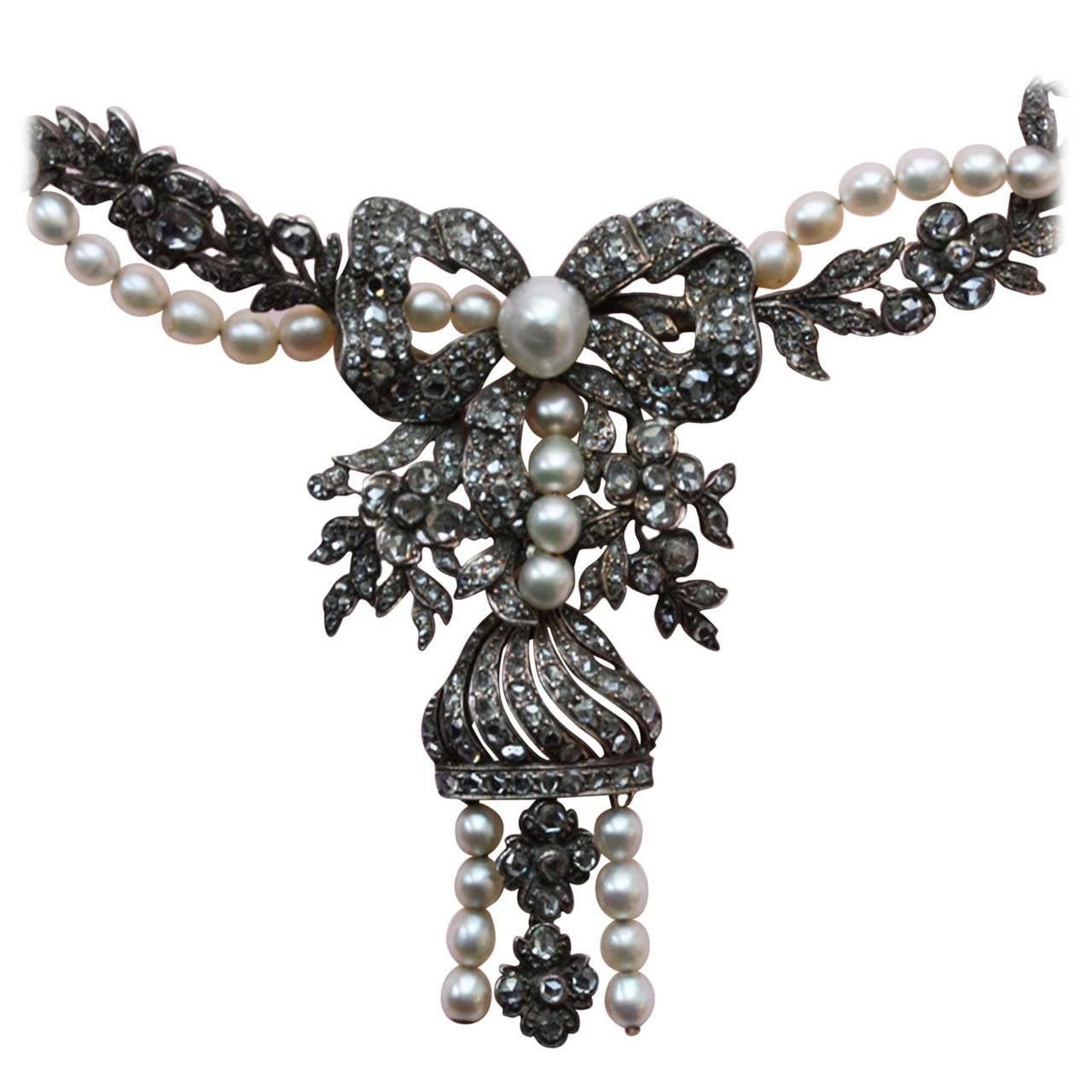 Pearl Rose Cut Diamond Flower Garland Necklace