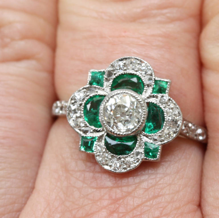 Engagement Rings Netherlands: Art Deco Emerald Diamond Cluster Ring At 1stdibs