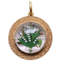 Lily-of-the-Valley Reverse Intaglio Crystal Gold Locket