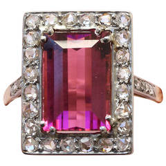 Edwardian Tourmaline Diamond Ring