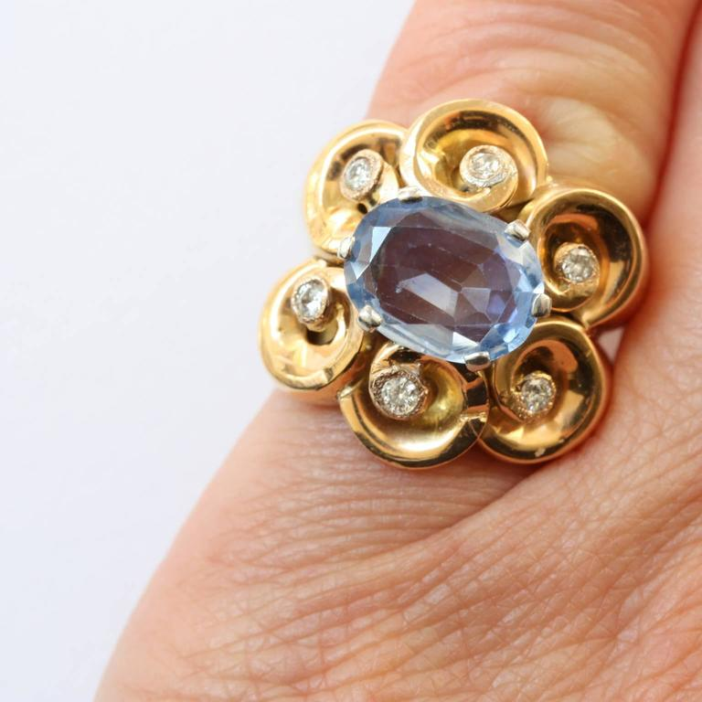 Sapphire Diamond Gold Retro Pinky Ring In Good Condition For Sale In Amsterdam, NL
