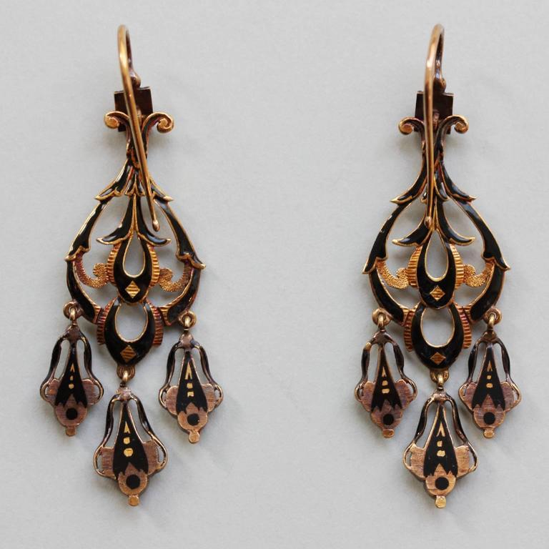 Women's Neo Renaissance Black Enamel Diamond Gold Dangle Earrings For Sale