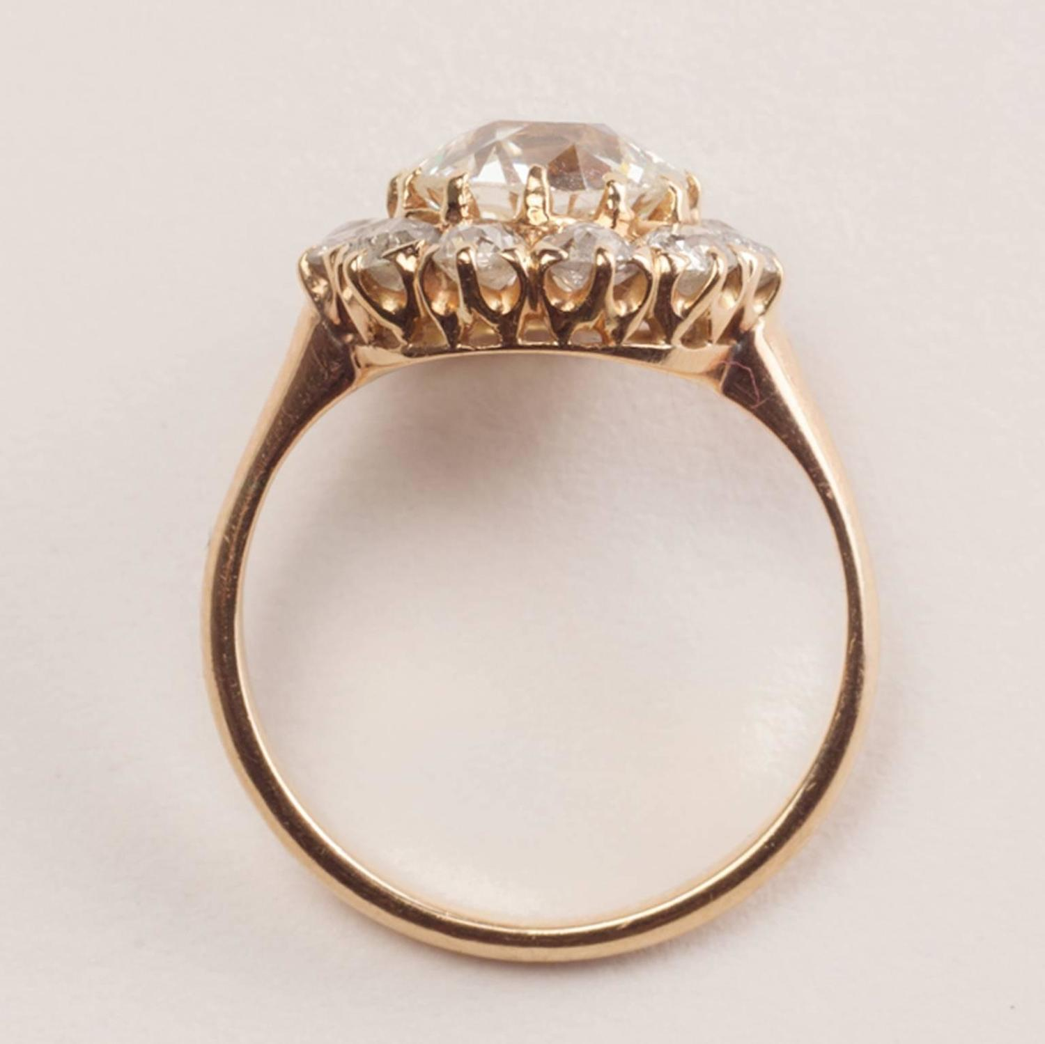 Antique Diamond Gold Cluster Ring For Sale at 1stdibs