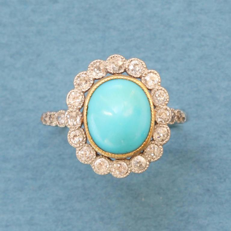 Edwardian Turquoise Diamond Gold Cluster Ring 2