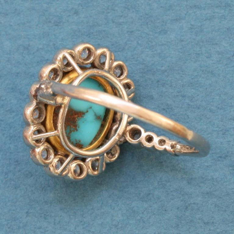 Edwardian Turquoise Diamond Gold Cluster Ring In Excellent Condition For Sale In Amsterdam, NL