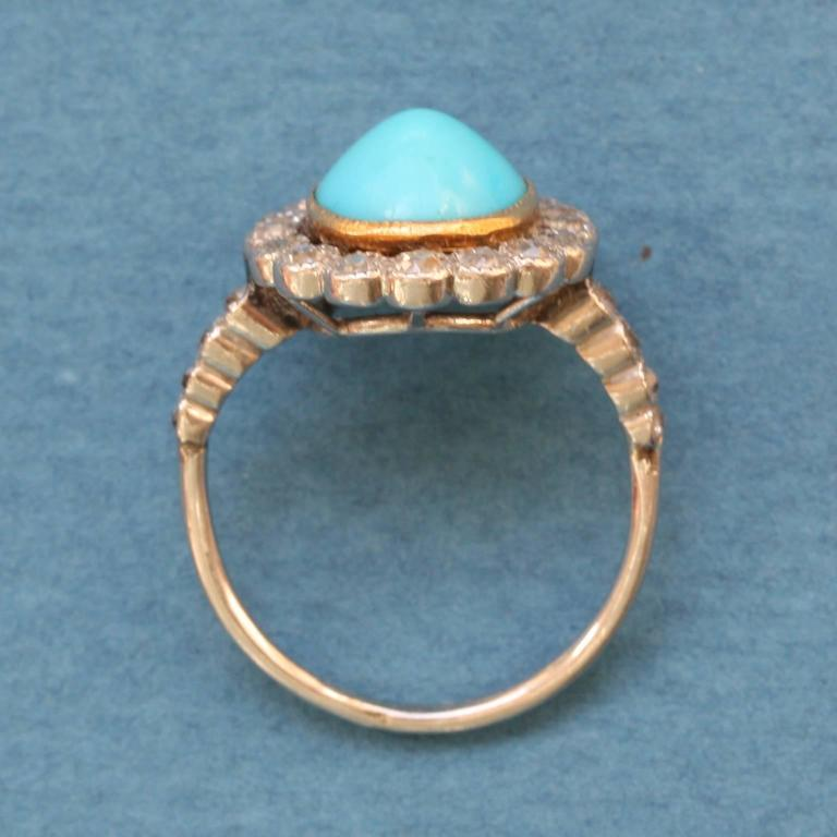 Women's Edwardian Turquoise Diamond Gold Cluster Ring For Sale