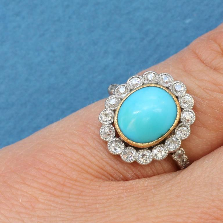 Edwardian Turquoise Diamond Gold Cluster Ring 5