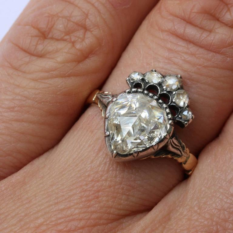 Engagement Rings Netherlands: Antique Dutch Rose Cut Diamond Crowned Heart Ring At 1stdibs