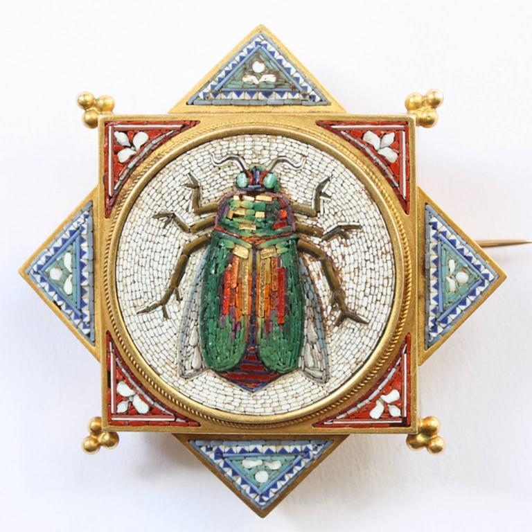 Women's Antique Papal Roman Workshops Egyptian Revival Micromosaic Suite For Sale