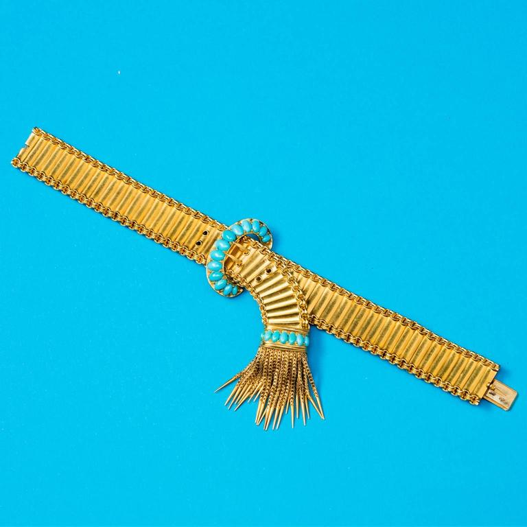 Antique English Victorian Turquoise Gold Buckle and Tassel Bracelet In Excellent Condition For Sale In Amsterdam, NL