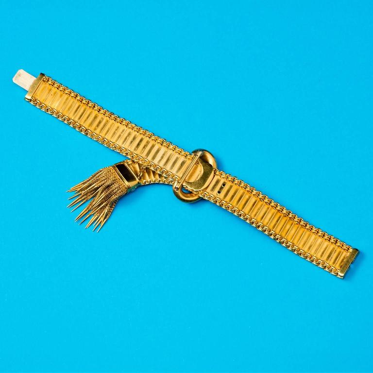 Women's Antique English Victorian Turquoise Gold Buckle and Tassel Bracelet For Sale