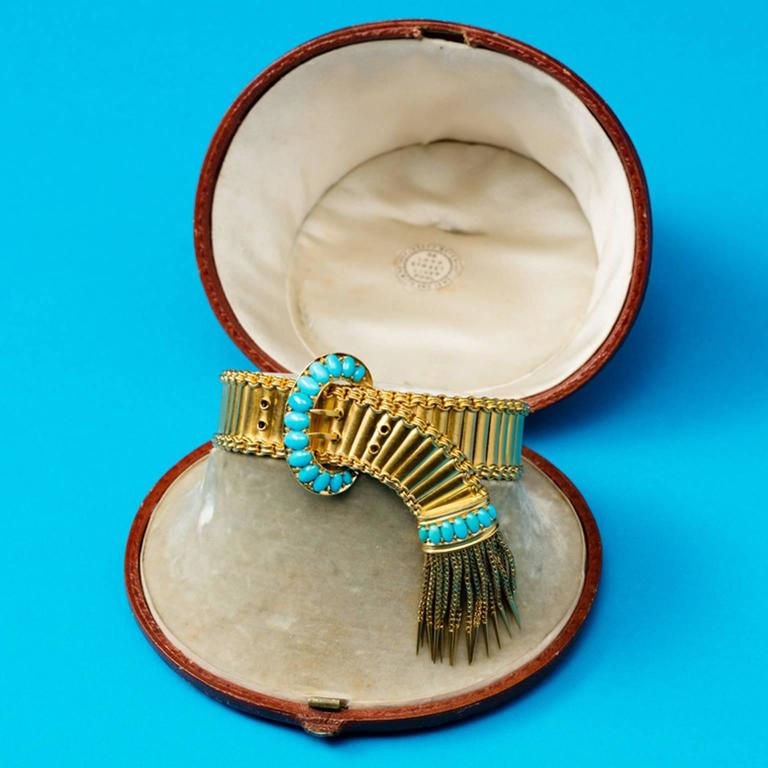Antique English Victorian Turquoise Gold Buckle and Tassel Bracelet For Sale 1